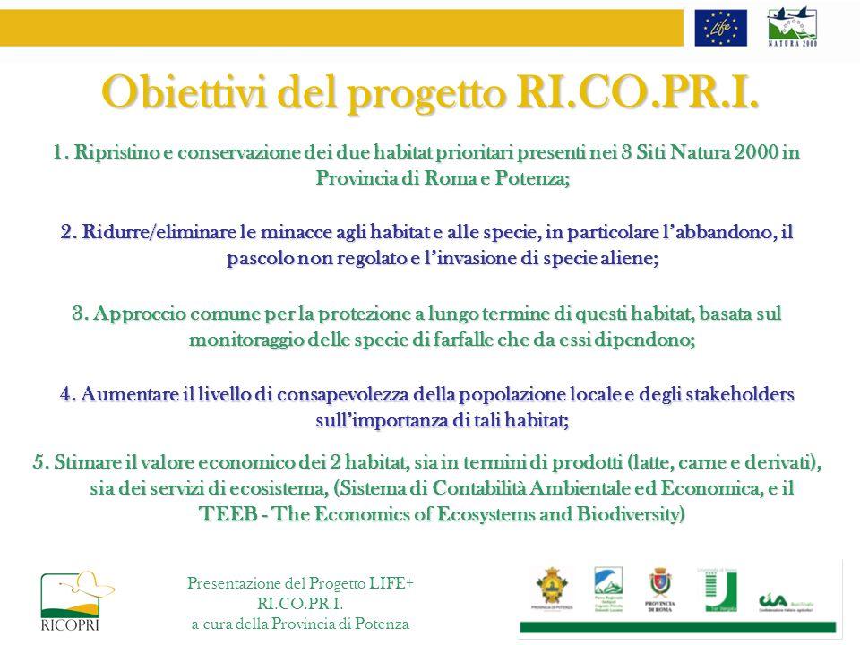 Obiettivi del progetto RI.CO.PR.I.