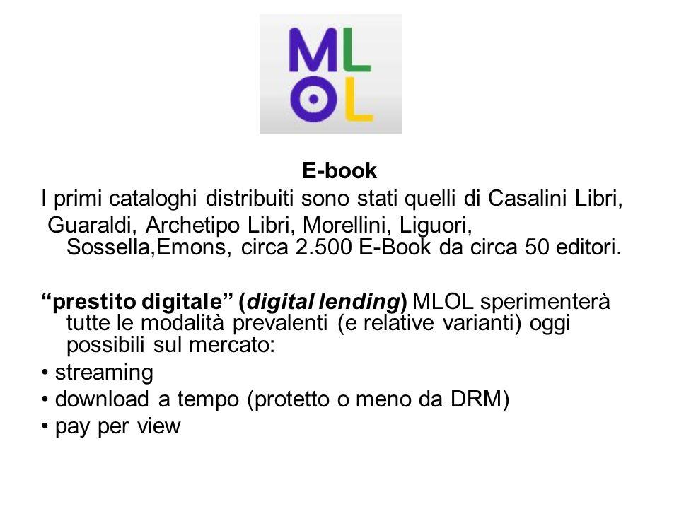 E-book I primi cataloghi distribuiti sono stati quelli di Casalini Libri,