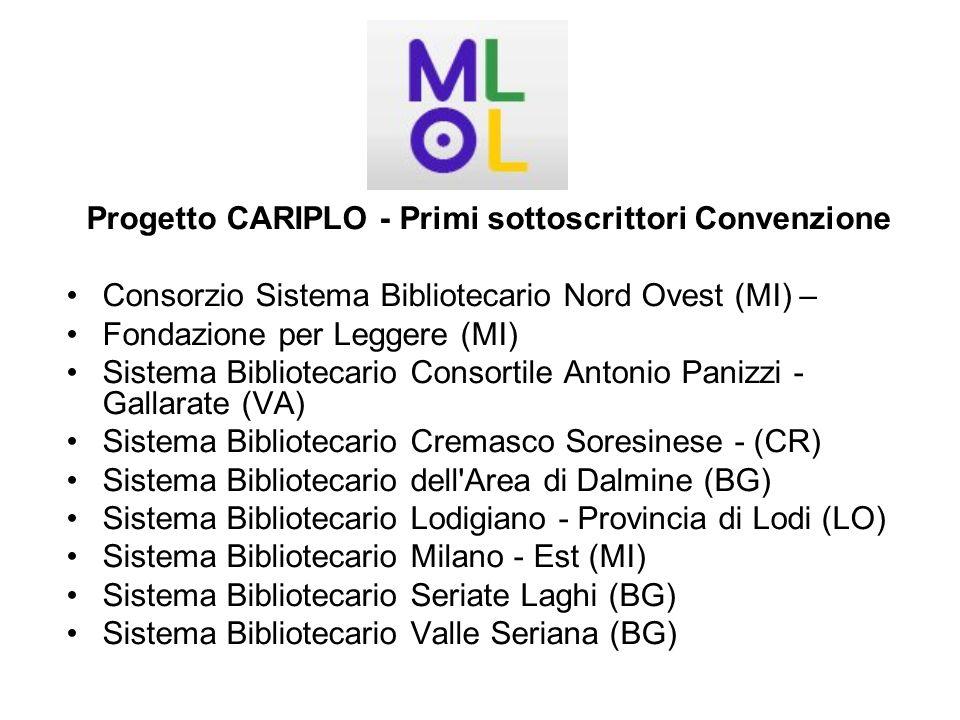 Progetto CARIPLO - Primi sottoscrittori Convenzione