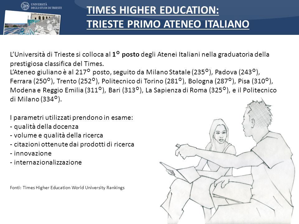 TIMES HIGHER EDUCATION: TRIESTE PRIMO ATENEO ITALIANO