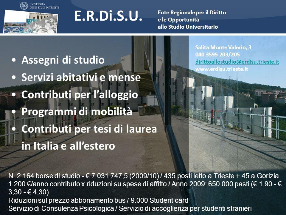 E.R.Di.S.U. Assegni di studio Servizi abitativi e mense