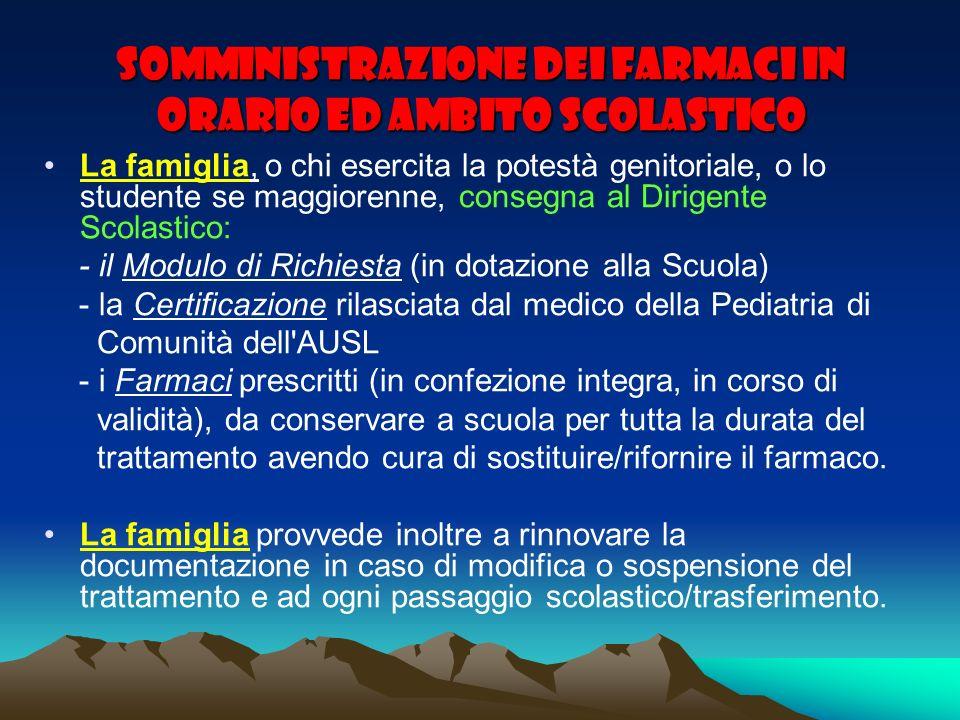 SOMMINISTRAZIONE DEI FARMACI IN ORARIO ED AMBITO SCOLASTICO