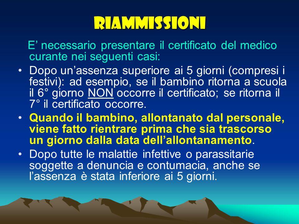 RIAMMISSIONI E' necessario presentare il certificato del medico curante nei seguenti casi:
