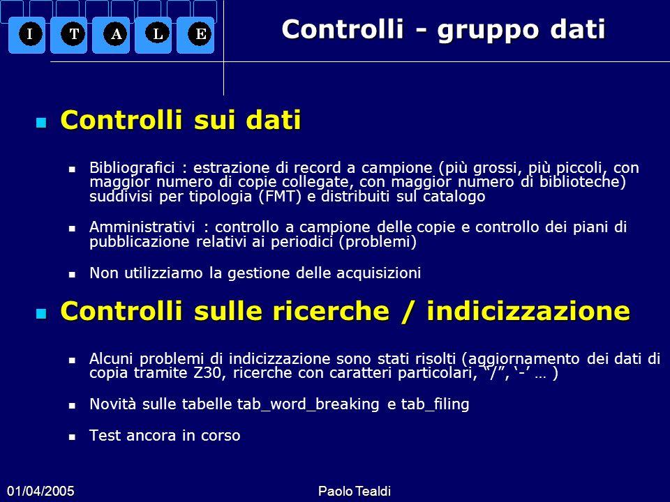Controlli - gruppo dati