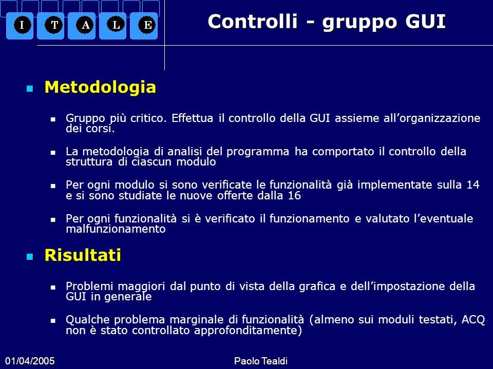 Controlli - gruppo GUI Metodologia Risultati