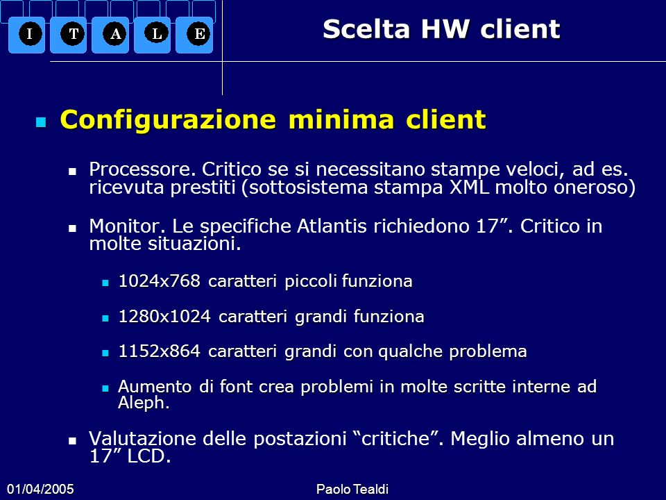 Configurazione minima client