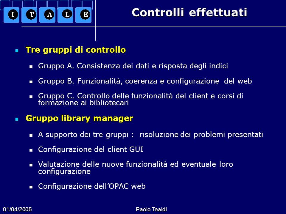 Controlli effettuati Tre gruppi di controllo Gruppo library manager