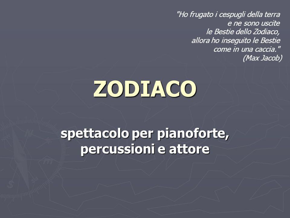spettacolo per pianoforte, percussioni e attore