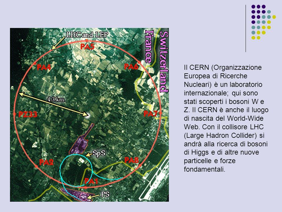 Il CERN (Organizzazione Europea di Ricerche Nucleari) è un laboratorio internazionale; qui sono stati scoperti i bosoni W e Z.