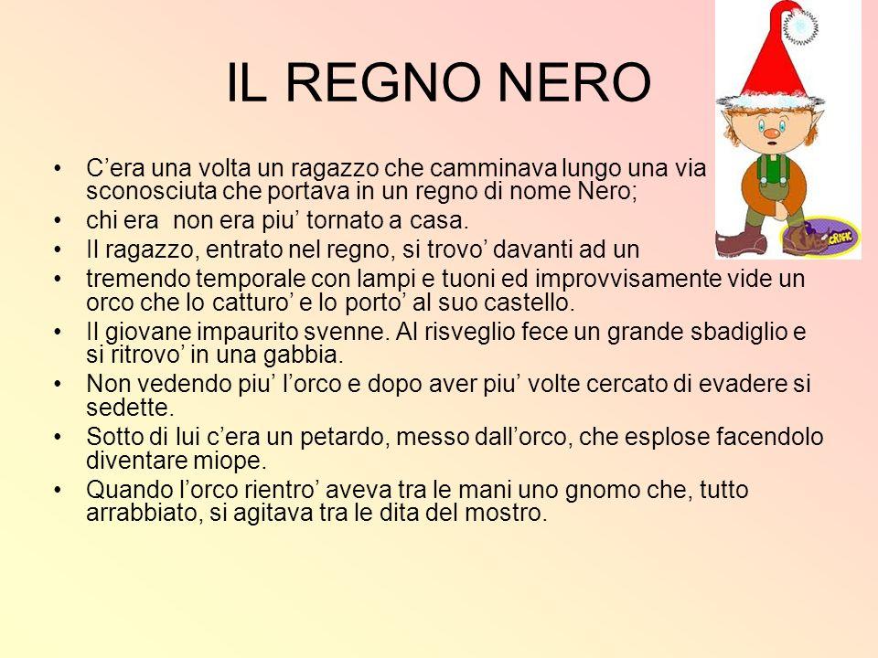 IL REGNO NERO C'era una volta un ragazzo che camminava lungo una via sconosciuta che portava in un regno di nome Nero;