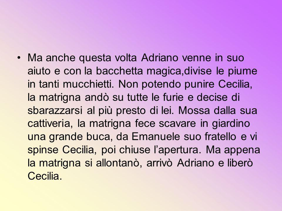Ma anche questa volta Adriano venne in suo aiuto e con la bacchetta magica,divise le piume in tanti mucchietti.