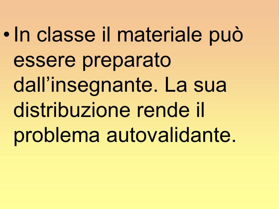 In classe il materiale può essere preparato dall'insegnante