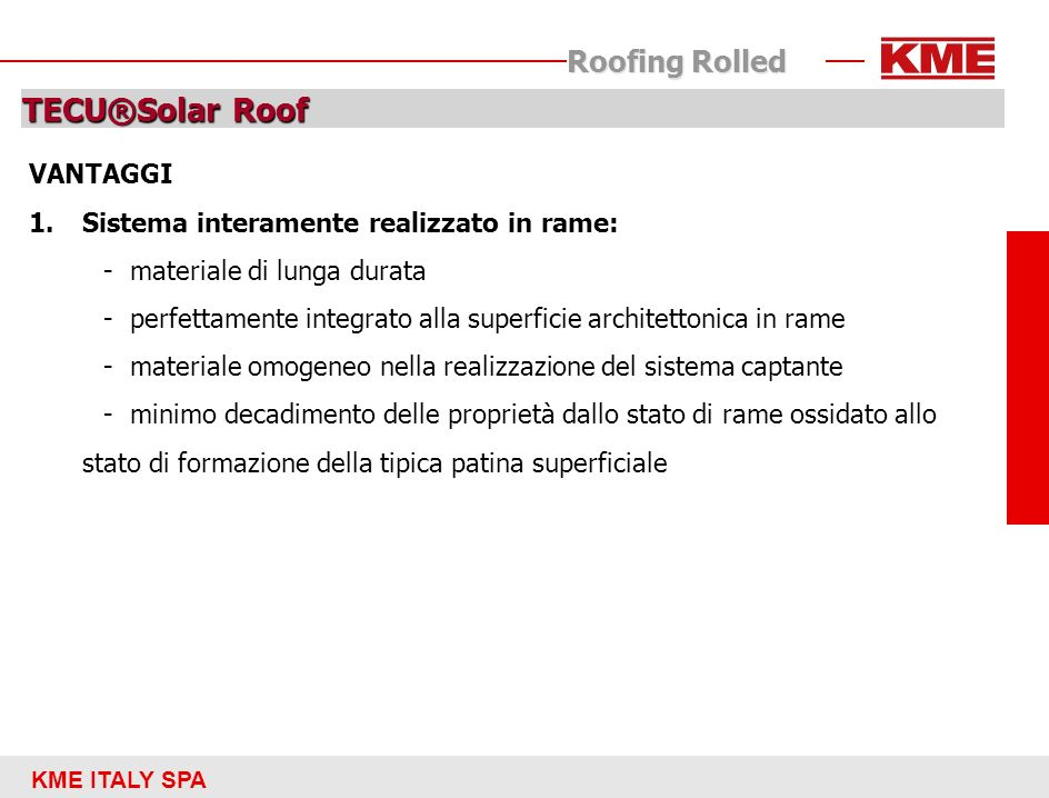 TECU®Solar Roof Roofing Rolled VANTAGGI
