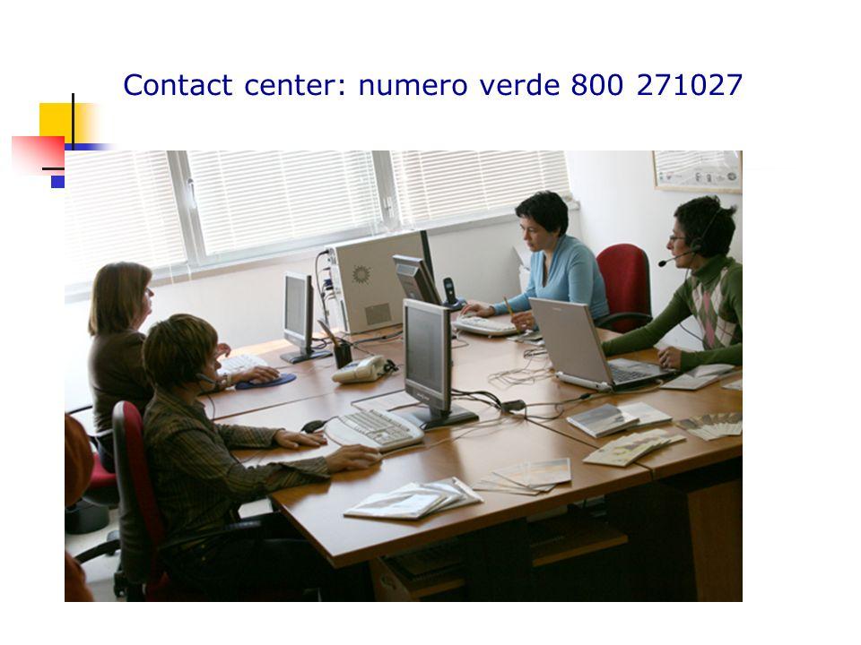 Contact center: numero verde 800 271027