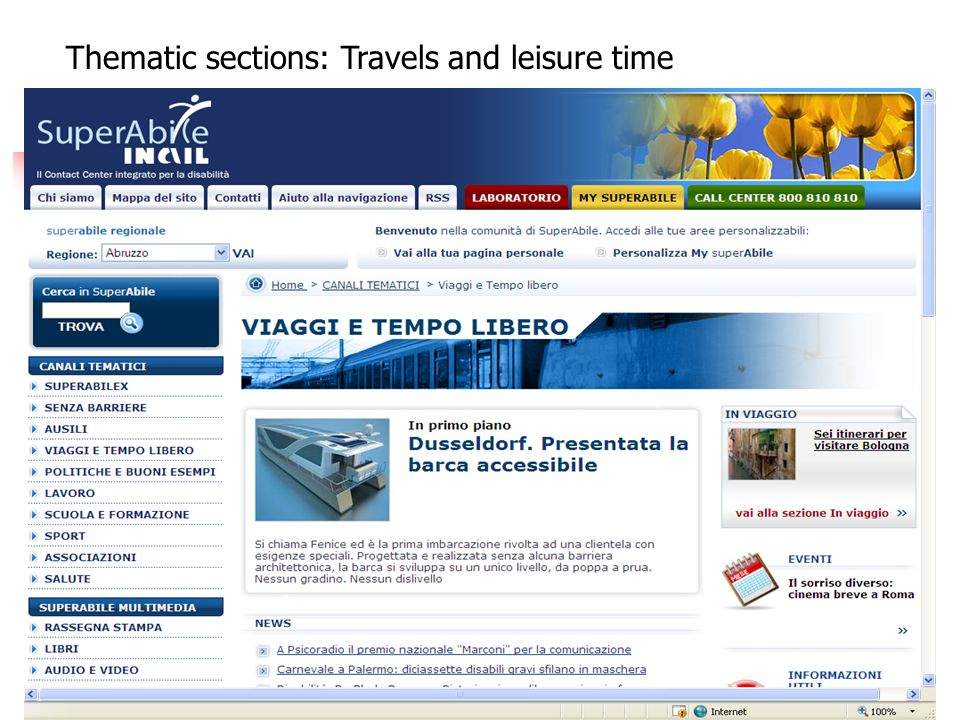 First Thematic sections: Travels and leisure time