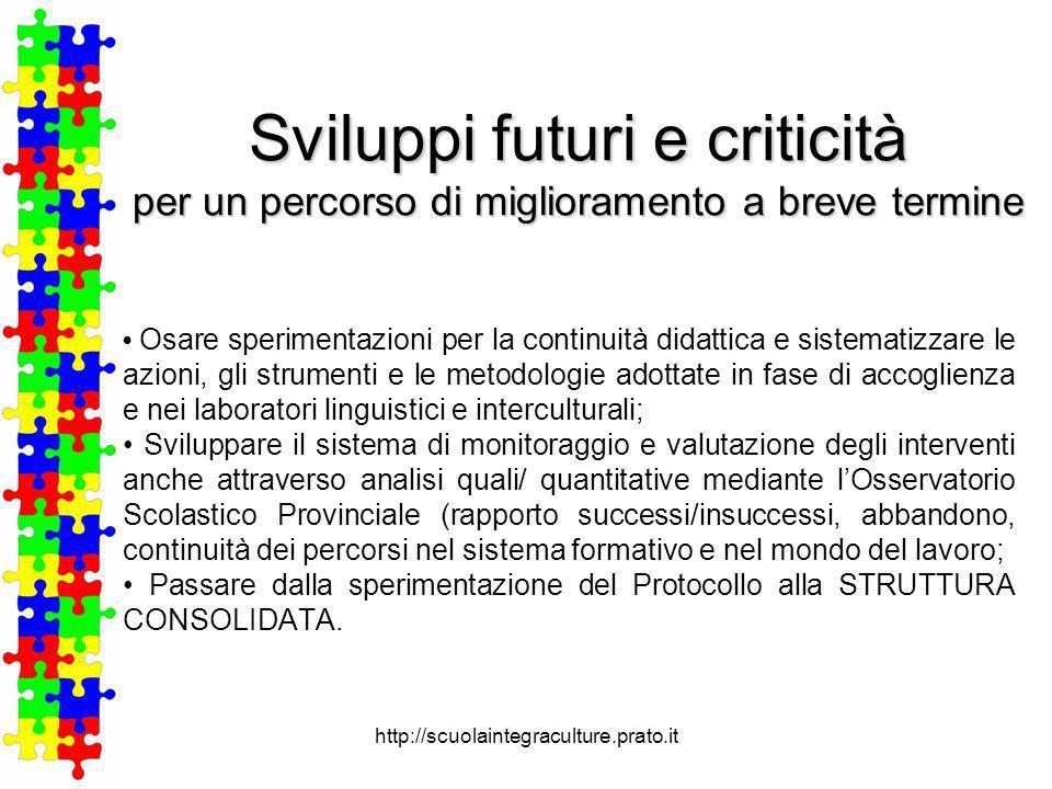 Sviluppi futuri e criticità per un percorso di miglioramento a breve termine