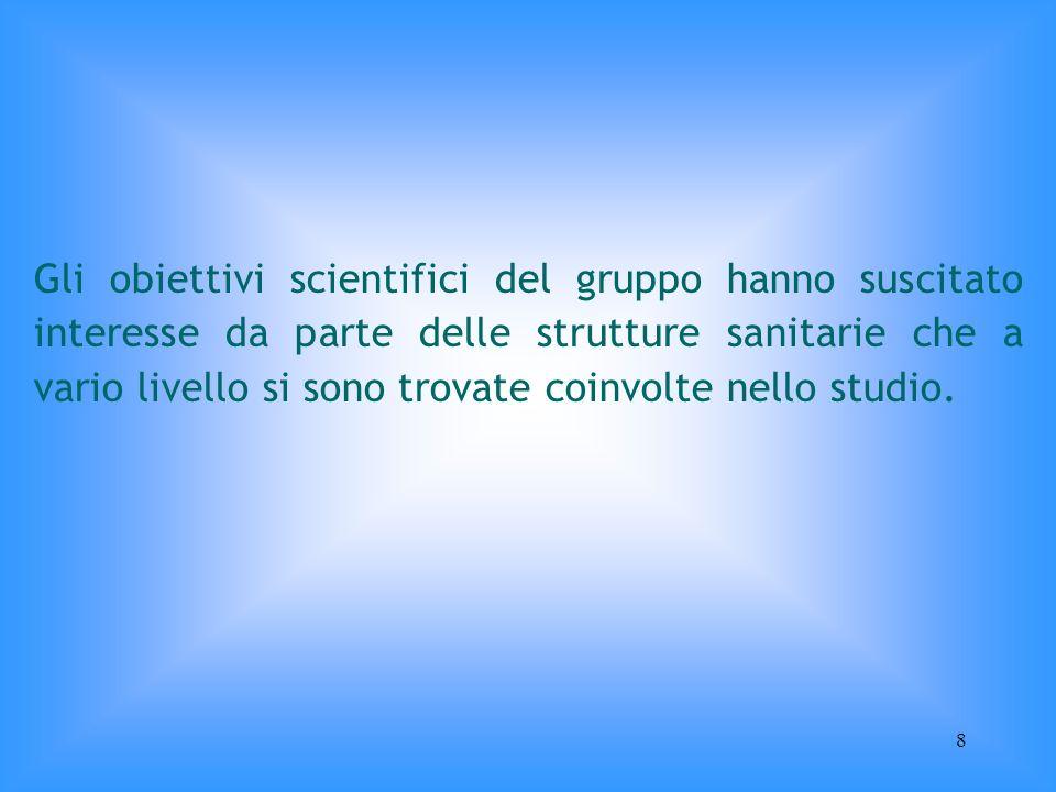 Gli obiettivi scientifici del gruppo hanno suscitato interesse da parte delle strutture sanitarie che a vario livello si sono trovate coinvolte nello studio.
