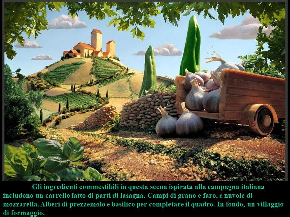 Gli ingredienti commestibili in questa scena ispirata alla campagna italiana includono un carrello fatto di parti di lasagna.