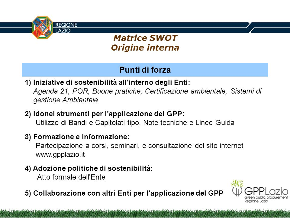 Matrice SWOT Origine interna