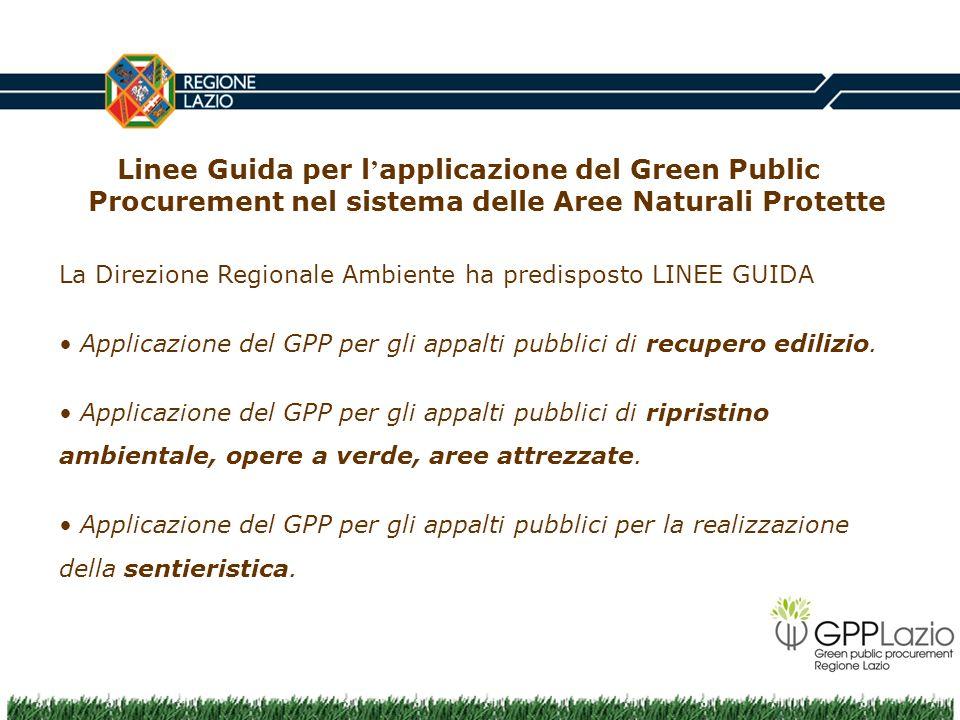 Linee Guida per l'applicazione del Green Public Procurement nel sistema delle Aree Naturali Protette
