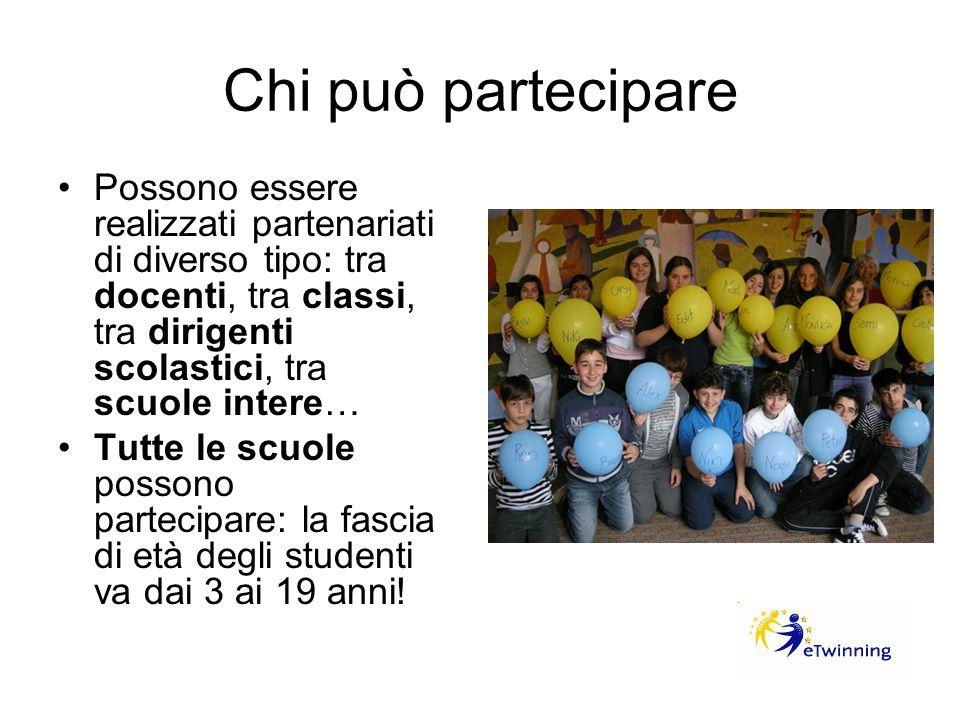 Chi può partecipare Possono essere realizzati partenariati di diverso tipo: tra docenti, tra classi, tra dirigenti scolastici, tra scuole intere…