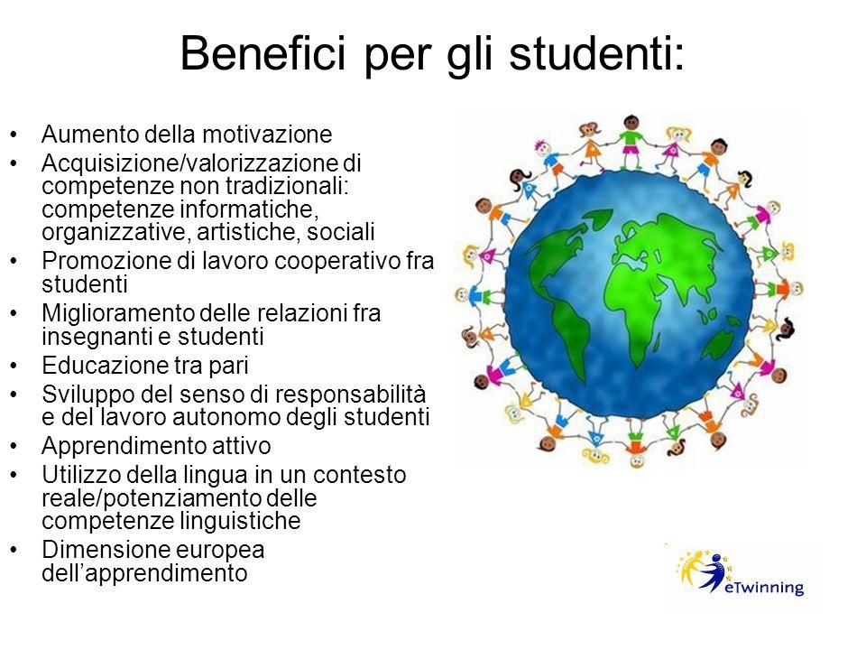 Benefici per gli studenti: