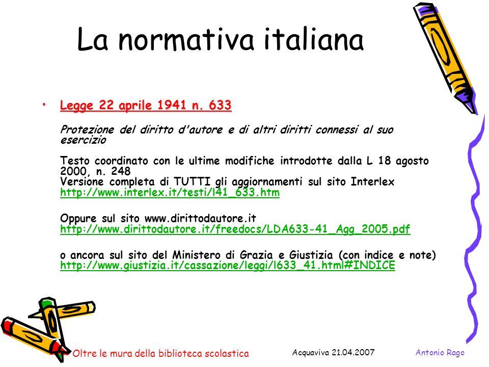 La normativa italiana Legge 22 aprile 1941 n. 633