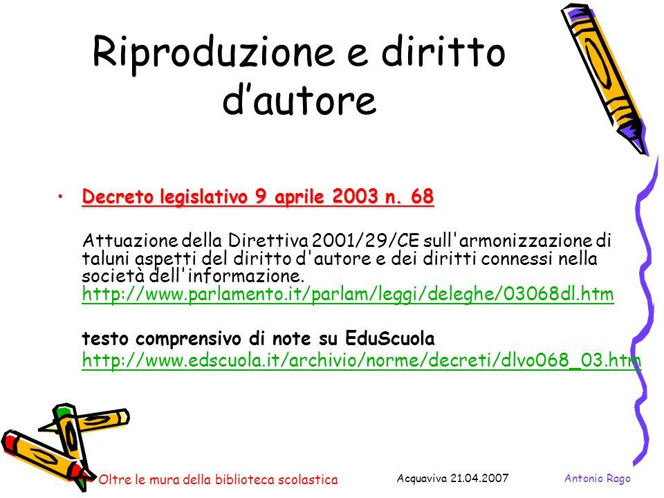 Riproduzione e diritto d'autore