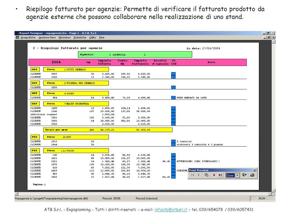 Riepilogo fatturato per agenzie: Permette di verificare il fatturato prodotto da agenzie esterne che possono collaborare nella realizzazione di uno stand.