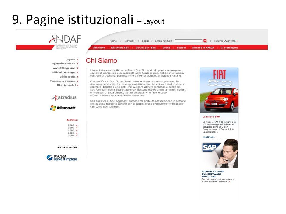 Pagine istituzionali – Layout