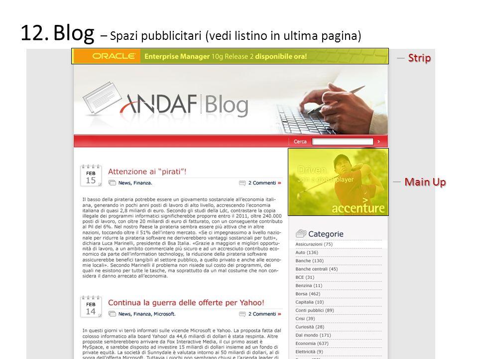 Blog – Spazi pubblicitari (vedi listino in ultima pagina)