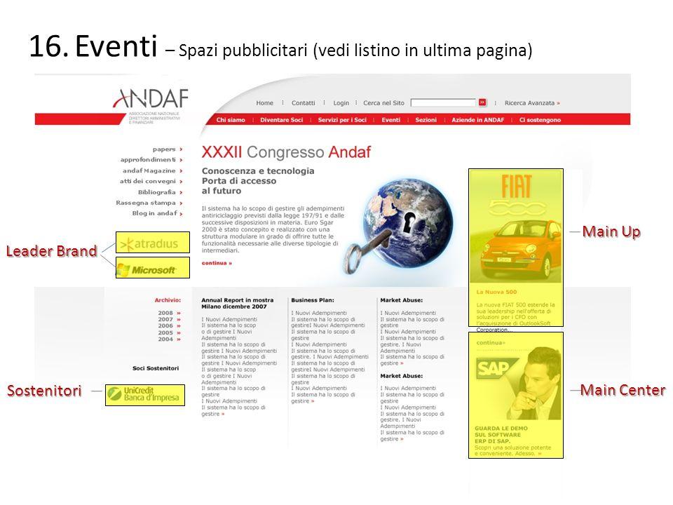 Eventi – Spazi pubblicitari (vedi listino in ultima pagina)