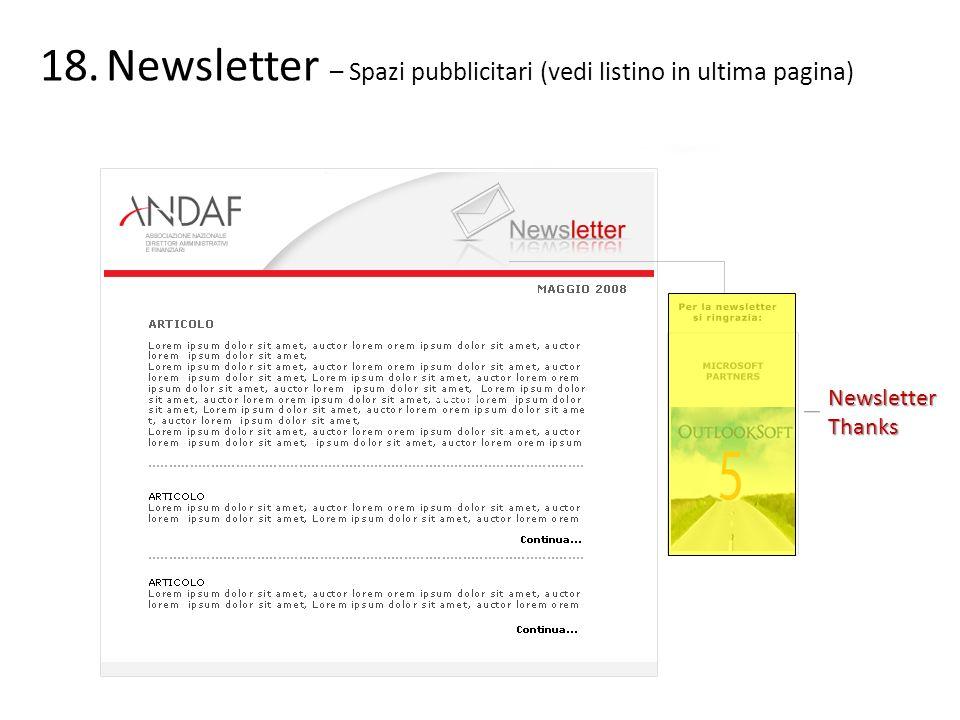 Newsletter – Spazi pubblicitari (vedi listino in ultima pagina)
