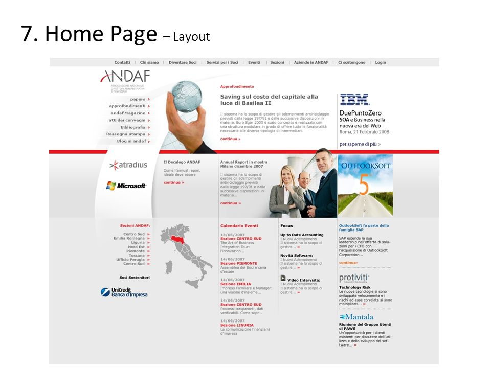 Home Page – Layout