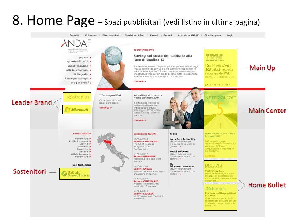 Home Page – Spazi pubblicitari (vedi listino in ultima pagina)