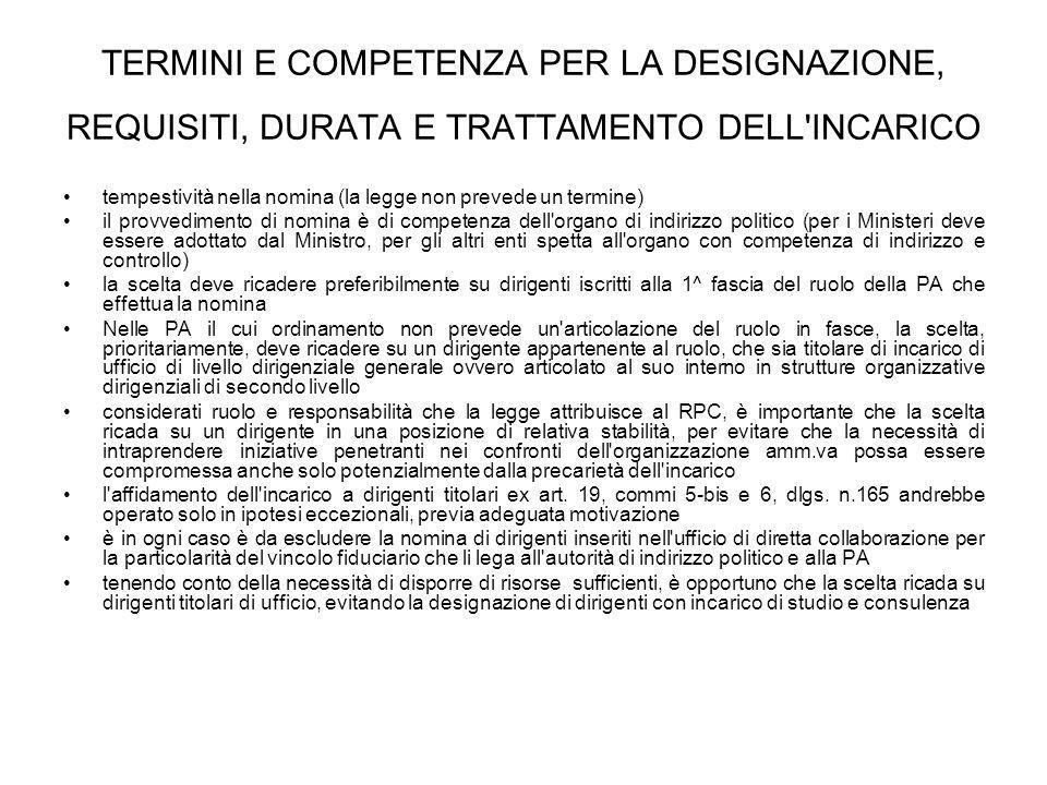 TERMINI E COMPETENZA PER LA DESIGNAZIONE, REQUISITI, DURATA E TRATTAMENTO DELL INCARICO