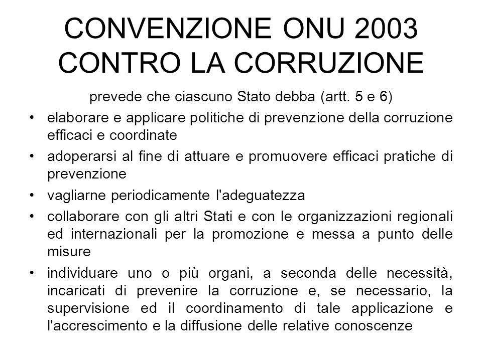 CONVENZIONE ONU 2003 CONTRO LA CORRUZIONE