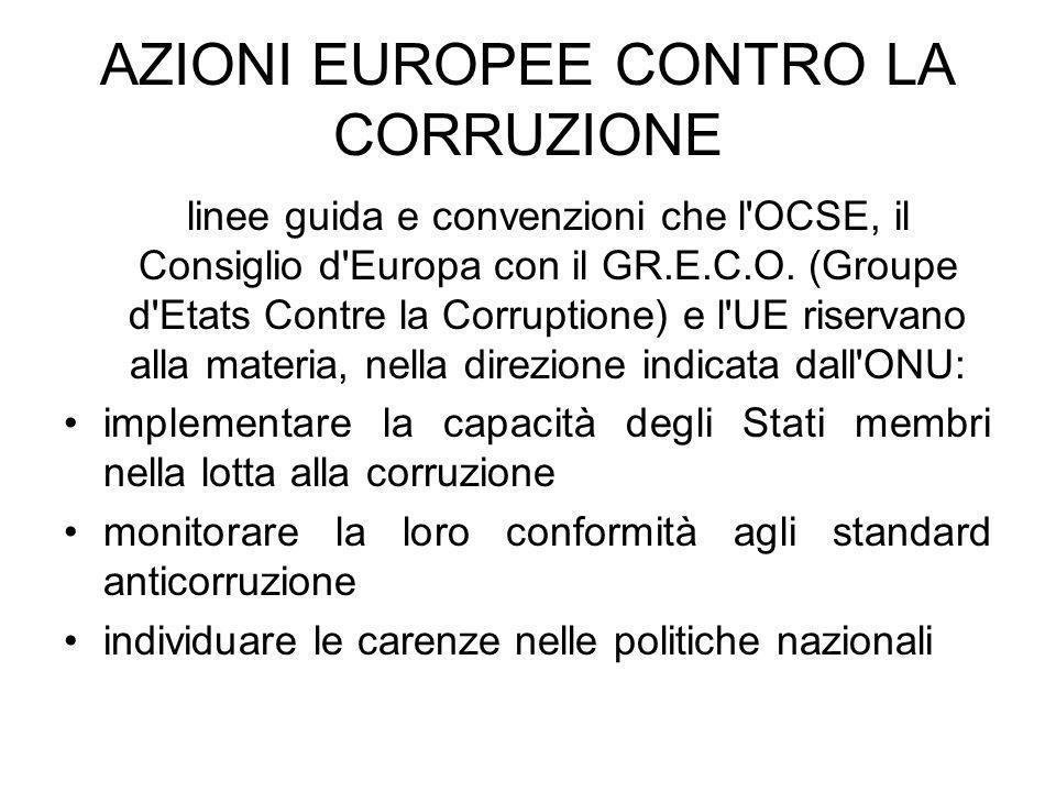 AZIONI EUROPEE CONTRO LA CORRUZIONE
