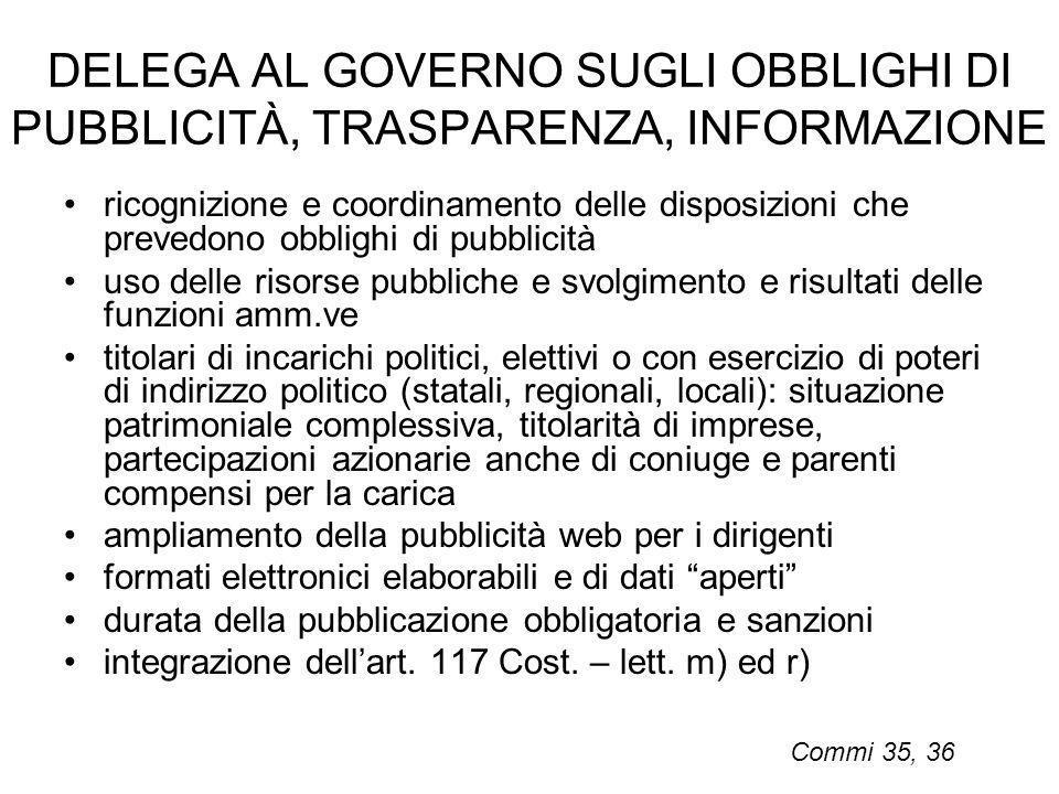 DELEGA AL GOVERNO SUGLI OBBLIGHI DI PUBBLICITÀ, TRASPARENZA, INFORMAZIONE