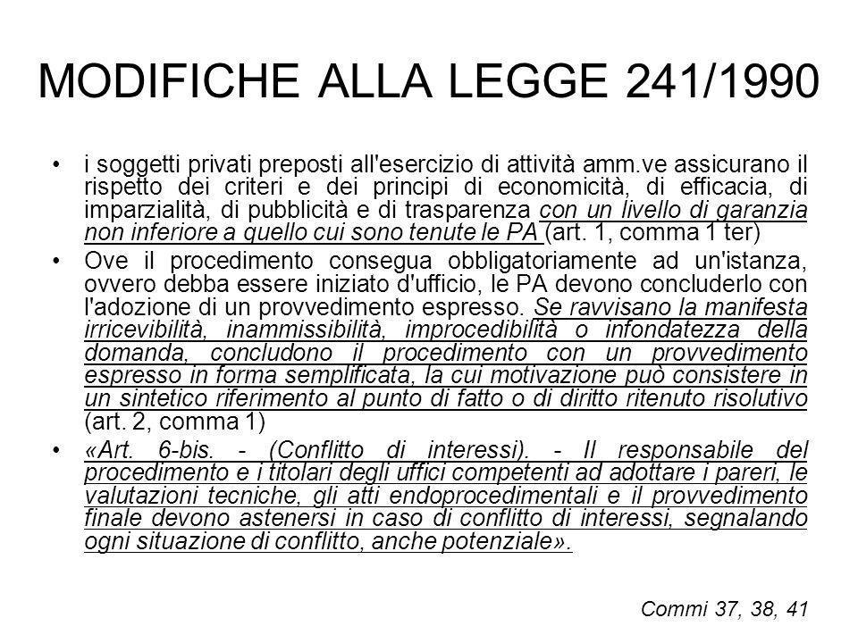 MODIFICHE ALLA LEGGE 241/1990
