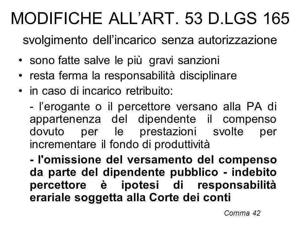 MODIFICHE ALL'ART. 53 D.LGS 165 svolgimento dell'incarico senza autorizzazione