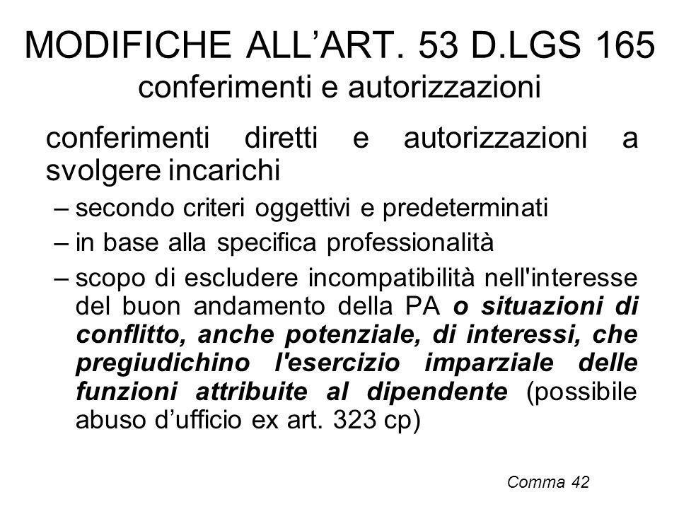 MODIFICHE ALL'ART. 53 D.LGS 165 conferimenti e autorizzazioni
