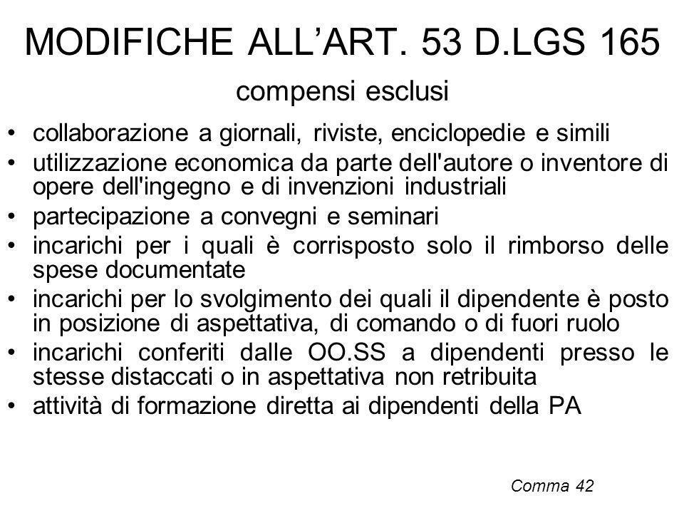 MODIFICHE ALL'ART. 53 D.LGS 165 compensi esclusi