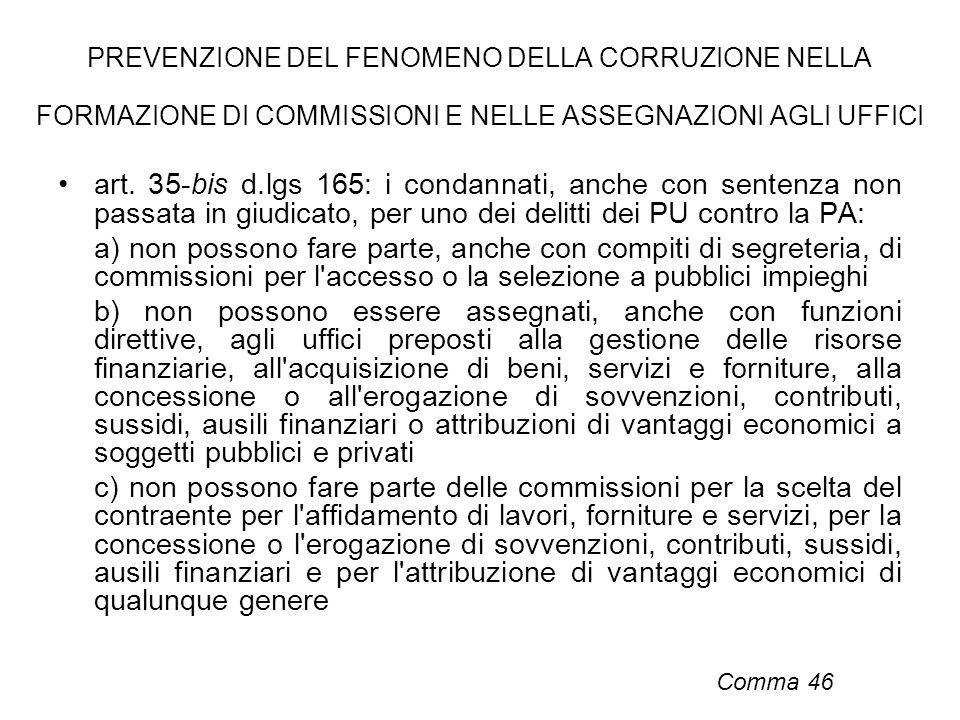 PREVENZIONE DEL FENOMENO DELLA CORRUZIONE NELLA FORMAZIONE DI COMMISSIONI E NELLE ASSEGNAZIONI AGLI UFFICI