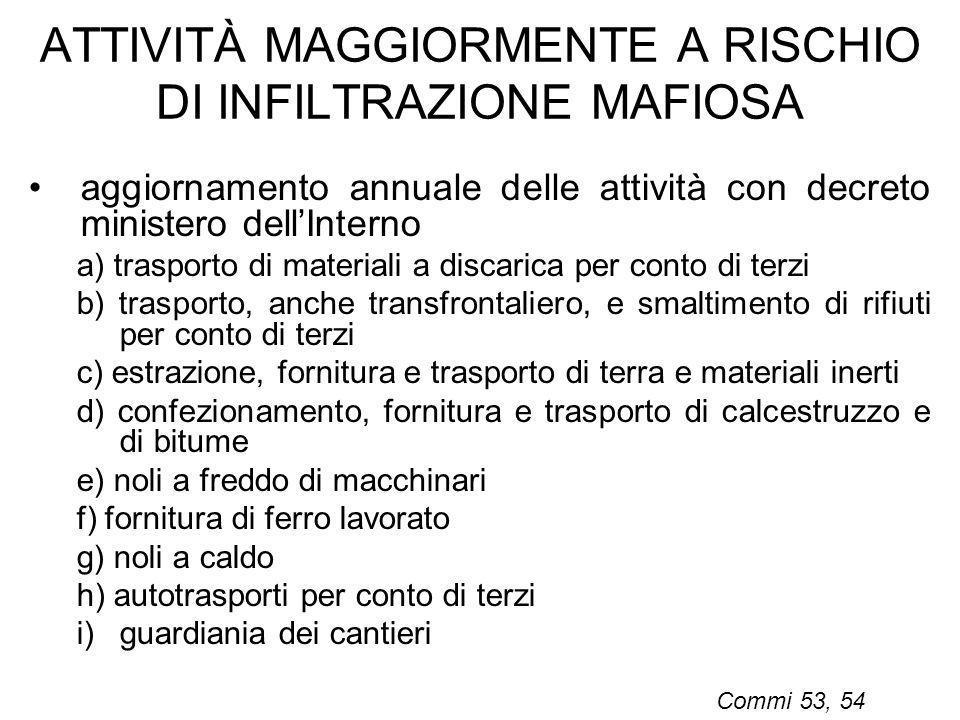 ATTIVITÀ MAGGIORMENTE A RISCHIO DI INFILTRAZIONE MAFIOSA