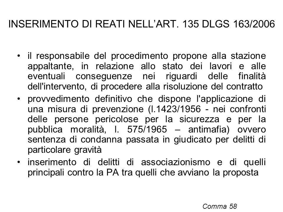INSERIMENTO DI REATI NELL'ART. 135 DLGS 163/2006