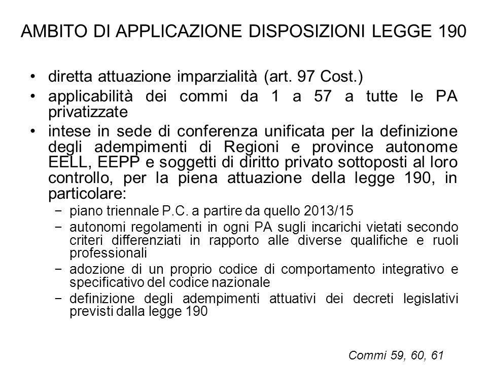 AMBITO DI APPLICAZIONE DISPOSIZIONI LEGGE 190