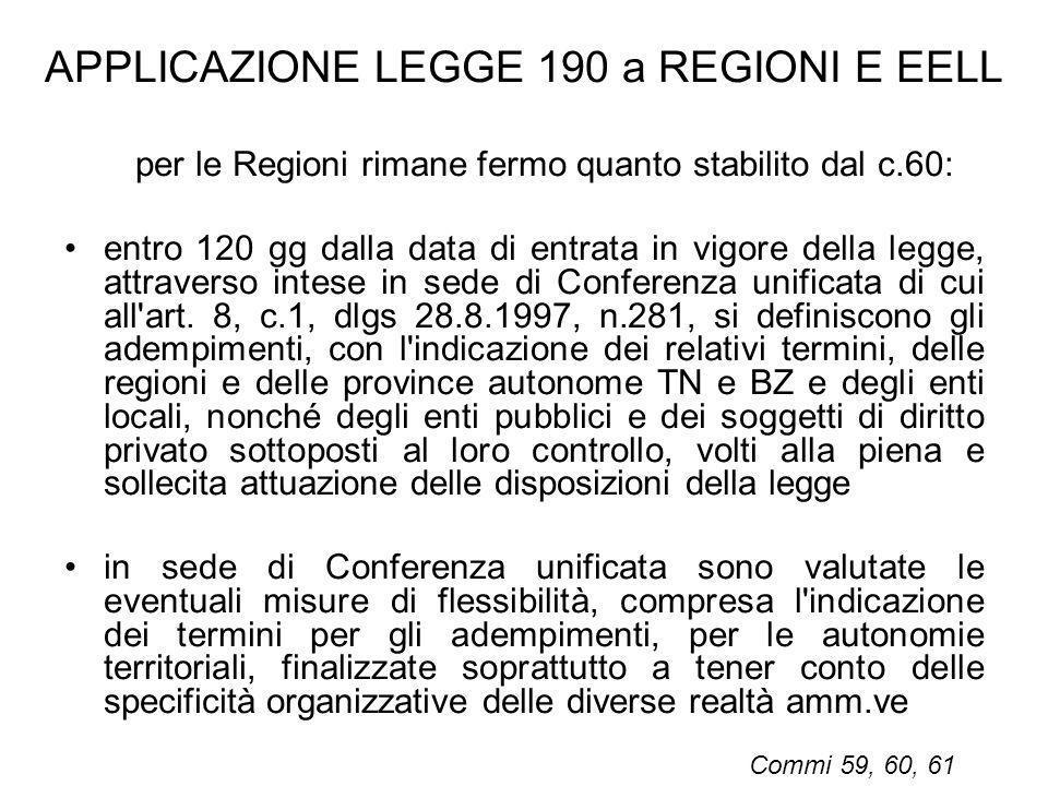 APPLICAZIONE LEGGE 190 a REGIONI E EELL