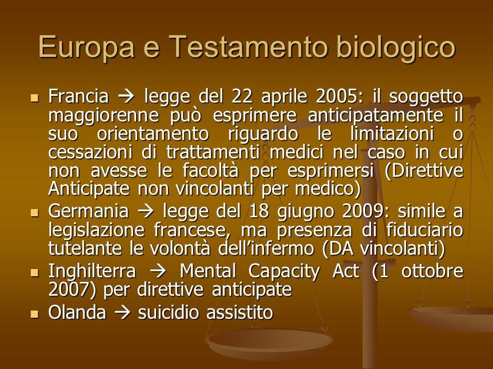 Europa e Testamento biologico