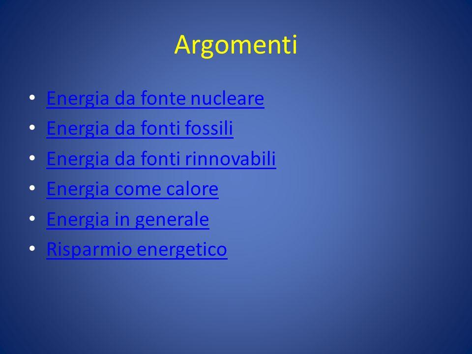 Argomenti Energia da fonte nucleare Energia da fonti fossili